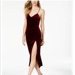 Bardot burgundy velvet dress